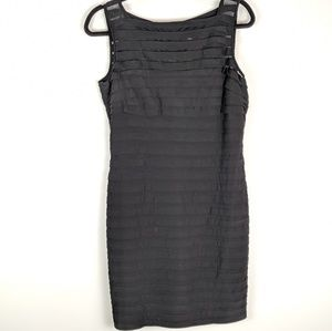 Adrianna Papell Black Dress Sz 14 Shutter Pleat